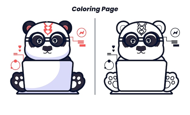 Panda playing computer with coloring pages suitable for children