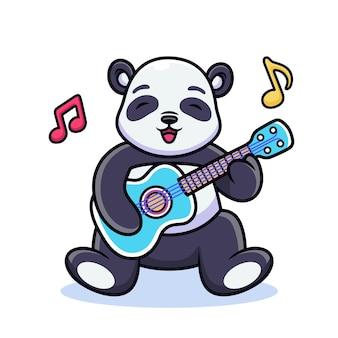 パンダはギターの漫画を演奏します。ベクトルアイコンイラスト。プレミアムベクトルで分離