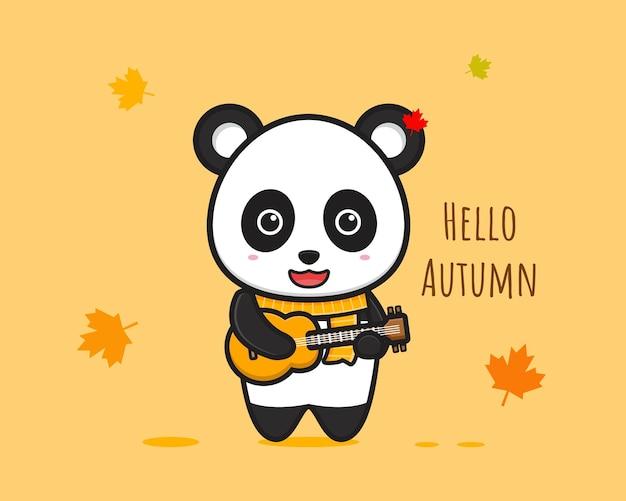 팬더 연주 기타 안녕하세요 가을 배너 만화 아이콘 벡터 일러스트 레이 션 디자인 절연