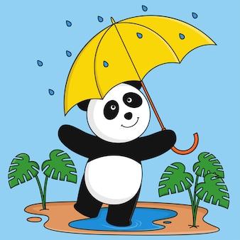 Панда играет под дождем.