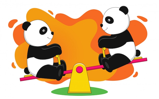 Panda plays with a seesaw vector illustration