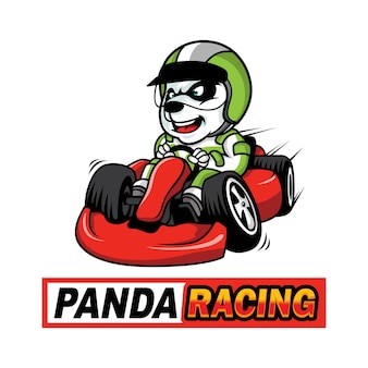Panda race logo vector