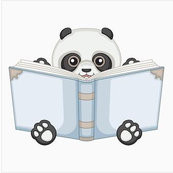 Panda reading illustration