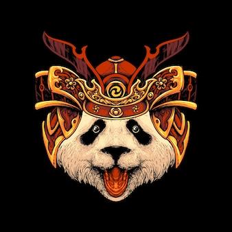 Панда самурай шляпа illustraion