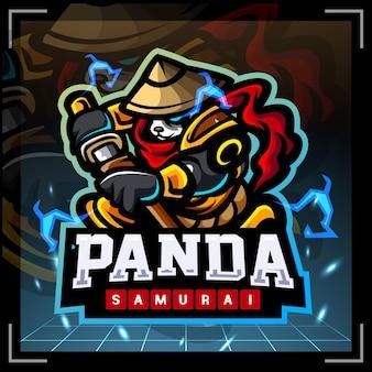 Panda samurai mascot esport logo design