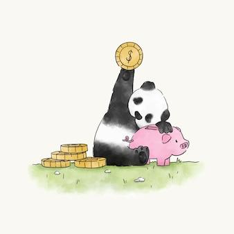 돼지 저금통에 돈을 절약 팬더