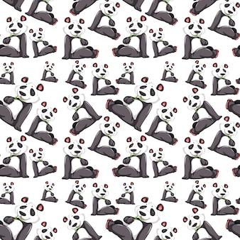 Panda on seamless pattern