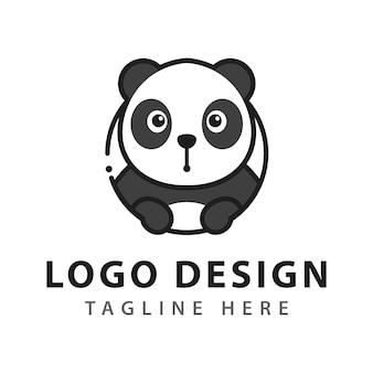 パンダのシンプルなロゴデザイン