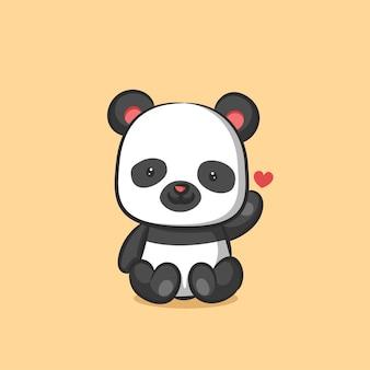 Панда сидит и дает знак любви рукой