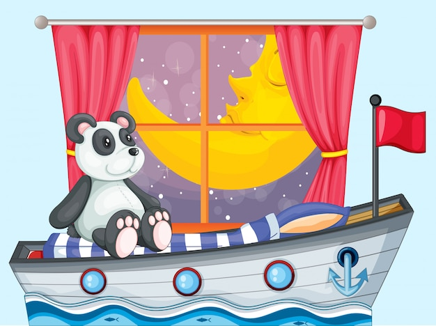 A panda sitting above the boat beside a window