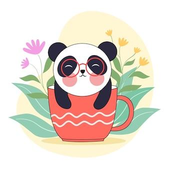 커피 컵에 앉아 팬더