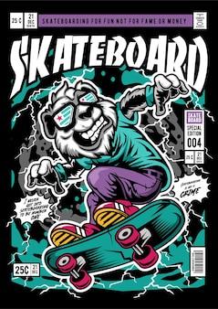Панда скейтборд комикс обложка иллюстрации