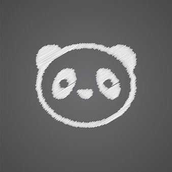 暗い背景に分離されたパンダスケッチロゴ落書きアイコン