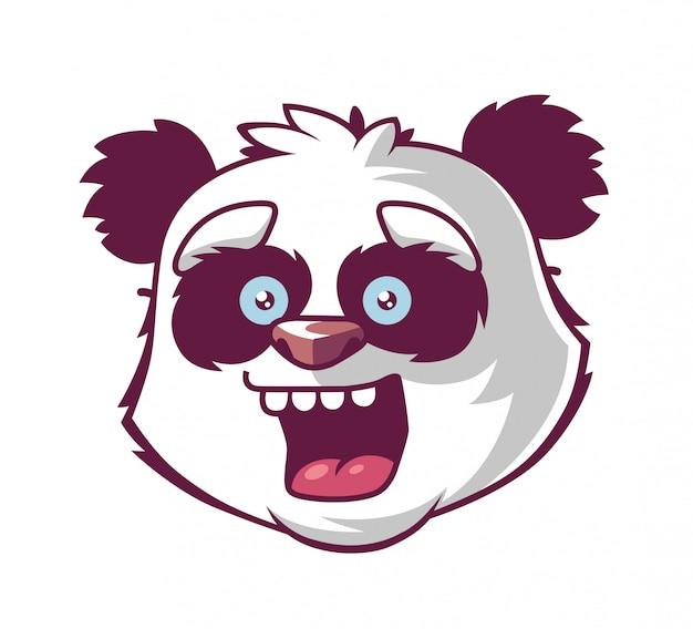 Panda smiles. character's head.