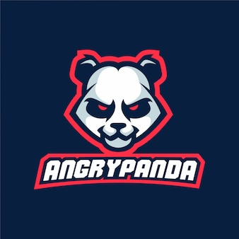 Panda sport game angry mascot logo