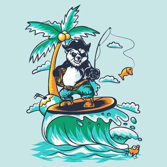 Панда серфинг иллюстрация