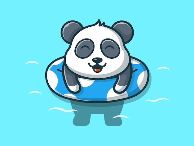 Panda swimming on beach