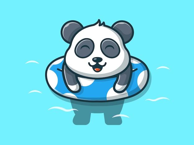 Панда плавание на пляже