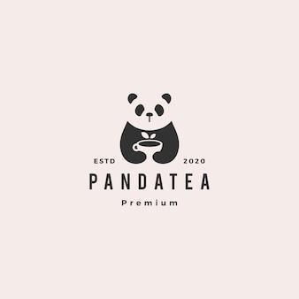 Panda tea cup logo hipster vintage retro
