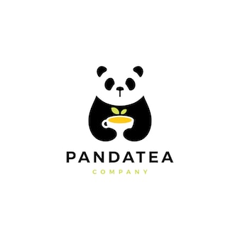 Panda tea cup logo vector icon illustration