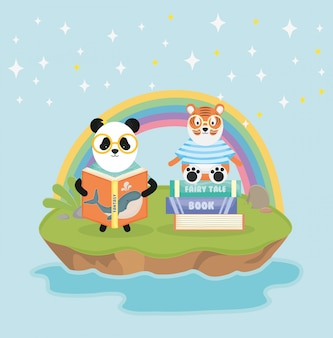 Panda and tiger with books rainbow fantasy fairy tale