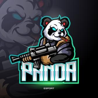ゲームのロゴのパンダ戦士マスコット。