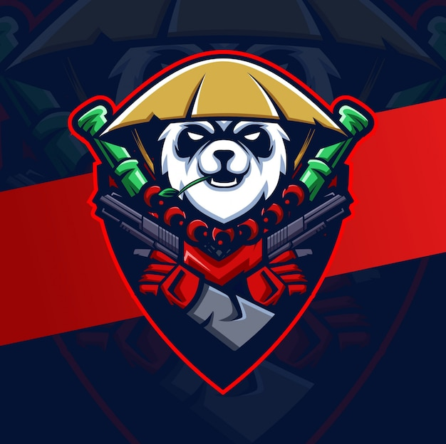 Panda warrior with guns mascot esport logo