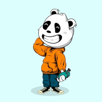 Panda wear urban style and hold spray can