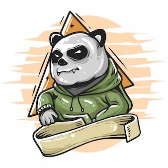 Panda wears hoodie