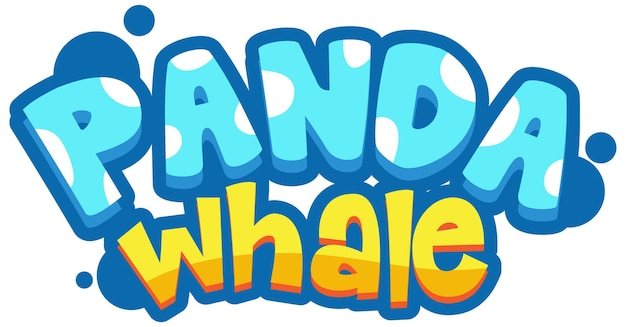 Panda whale font banner in cartoon style isolated