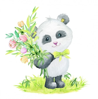 背景に立っている竹の枝と花の花束とパンダ