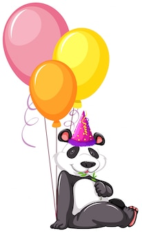 A panda with balloons