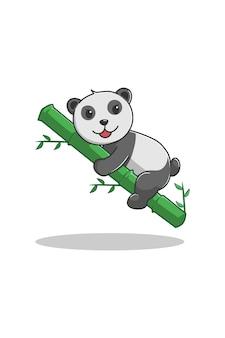 Panda with bamboo cartoon illustration