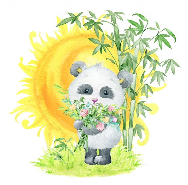 Panda with a bouquet of bamboo branches and flowers, standing against the background