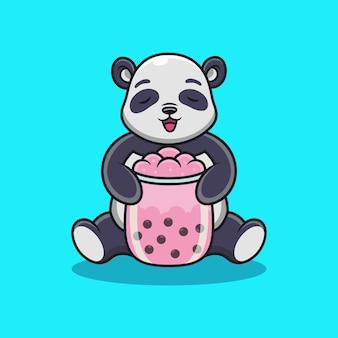 タピオカティーの漫画とパンダ。動物のベクトルアイコンイラスト、プレミアムベクトルで分離