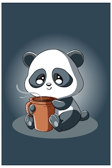 Панда с кофе, изолированные на темном фоне
