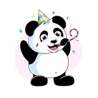 색종이가 있는 팬더, 귀여운 만화 팬더 곰, 축하 그림