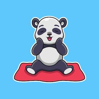 Панда с милой позой. животное мультфильм вектор значок иллюстрации, изолированные на premium векторы