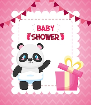 Panda with gift box for baby shower card