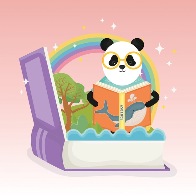 Panda with glasses reading book rainbow fantasy fairy tale