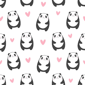 Panda with hearts pattern