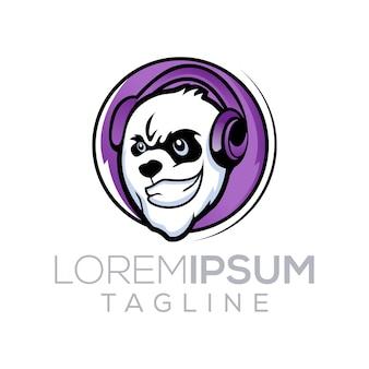 Panda with music logo design