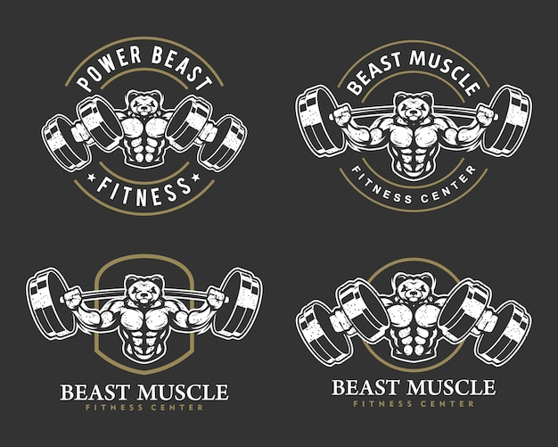Panda with strong body, fitness club or gym logo set..