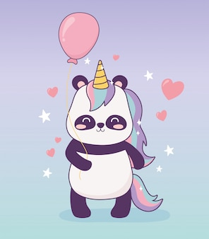 Panda with unicorn balloon decoration cartoon magical