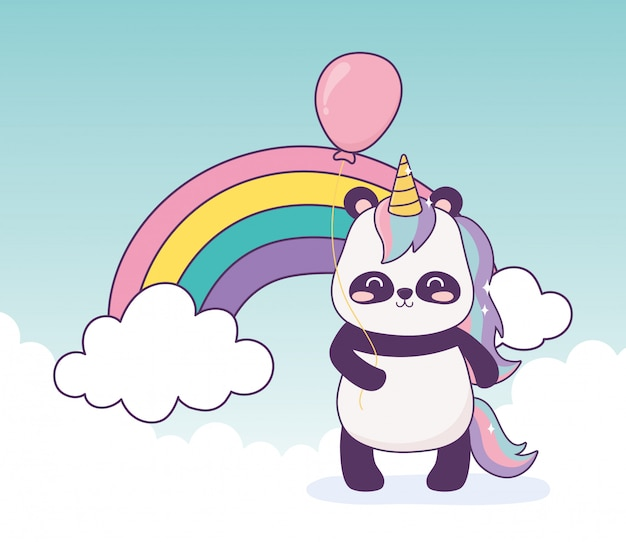 Panda with unicorn and balloon rainbow decoration cartoon