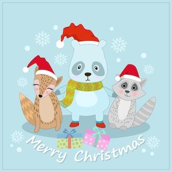 Panda wolf raccoon christmas card.