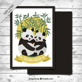 Panda любовь открытку