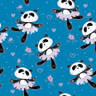 Pandas ballerinas dance. seamless pattern. print fabric for children.