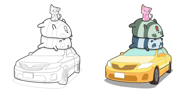 Pandas and cat on the car cartoon coloring page for kids