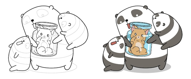 Pandas and cat coloring page for kids